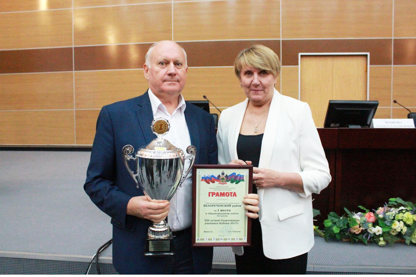 Награды вручили победителям и призёрам комплексного зачёта спартакиады учащихся Кубани