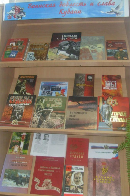 Абинская библиотека открыла работу передвижной тематической выставки «Воинская доблесть и слава Кубани»