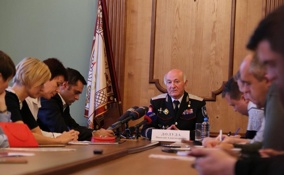 В Краснодаре состоялась пресс-конференция с вице-губернатором, казачьим генералом Николаем Долудой по случаю его назначения атаманом ВсКО.