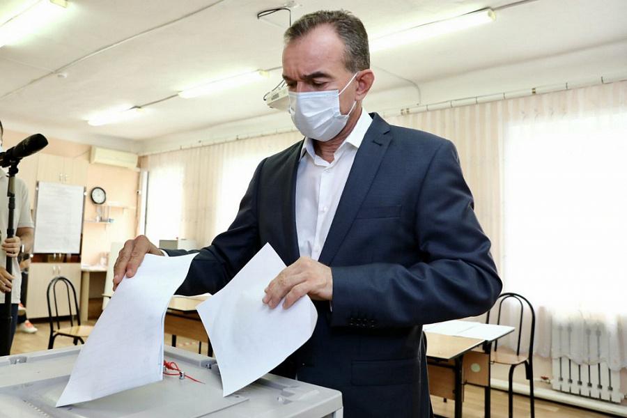 Глава Кубани Вениамин Кондратьев отдал свой голос на выборах депутатов Госдумы